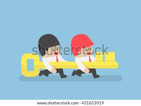 Businessman help his team holding golden key going forward, successful teamwork, key to success concept - stock vector