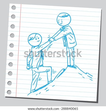 Businessman help other businessman to climb on top of the hill