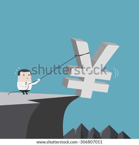 Businessman help yuan sign down - Vector - stock vector