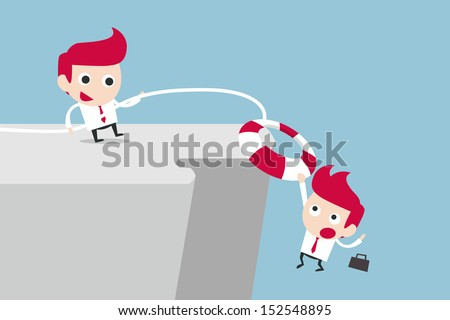 businessman helping friend, vector - stock vector