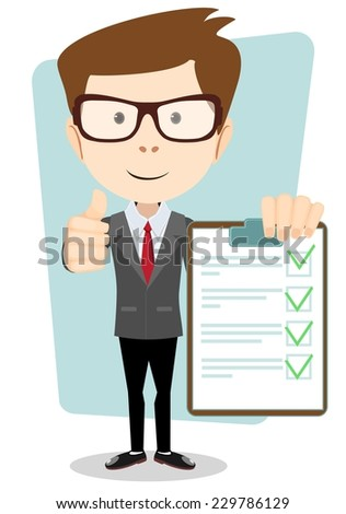 Businessman Hipster Holding a Document in Which All Approved, Validated, Agreed. The Document Put the Green Check Mark, Flags. Vector Illustration - stock vector