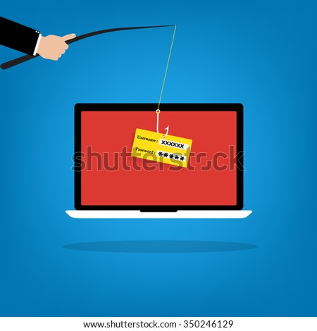 Businessman hold a fishhook for phishing username and password logon on victim laptop notebook. Vector illustration computer security technology concept. - stock vector