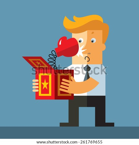 Businessman hold a jack in the box toy. Fist  springing out of a box. Business flat vector illustration. - stock vector