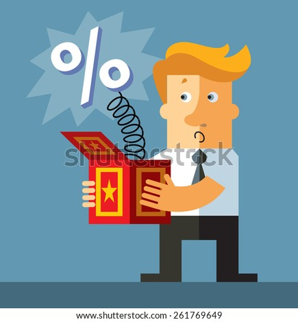 Businessman hold a jack in the box toy.Percent  springing out of a box. Business flat vector illustration. - stock vector
