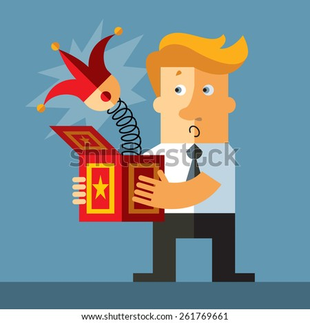 Businessman hold a jack in the box toy, springing out of a box. Business flat vector illustration. - stock vector