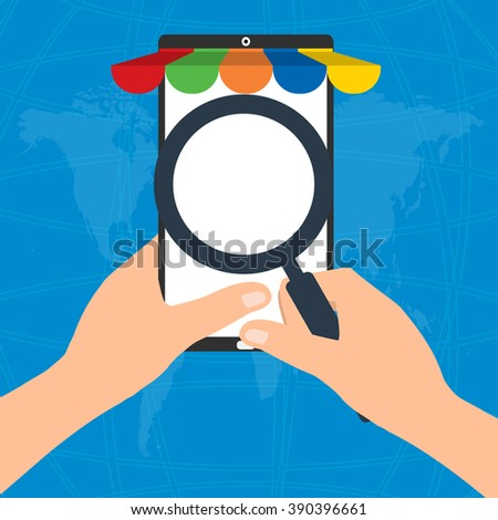 Businessman hold a magnifying glass for choosing internet online shopping on mobile tablet smart phone on world map background.  E-Commerce online shopping concept.    - stock vector