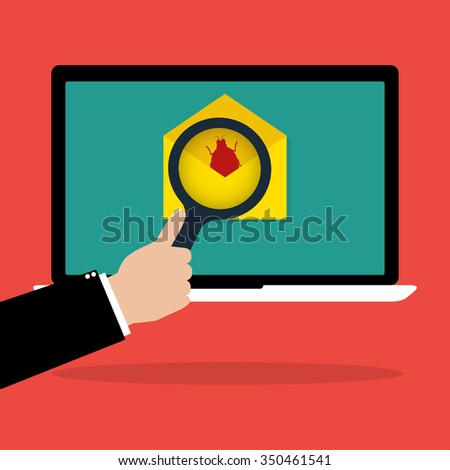 Businessman hold a magnifying glass scan red email with malware bug computer virus on laptop notebook. Vector illustration computer security technology concept. - stock vector