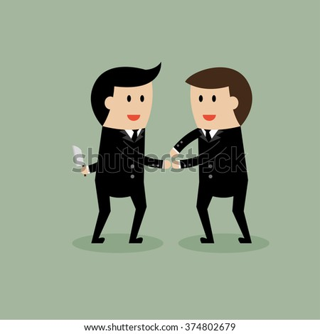 Businessman hold knife for discussion.  - stock vector