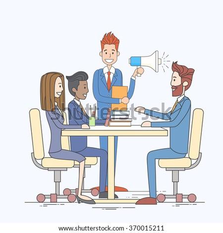 Businessman Hold Megaphone Loudspeaker Colleagues Business People Team Group Working Desk Vector Illustration - stock vector