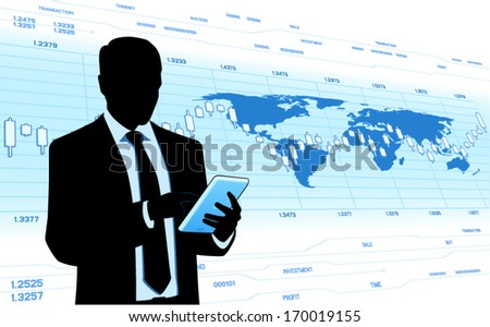 Businessman hold tablet computer. - stock vector