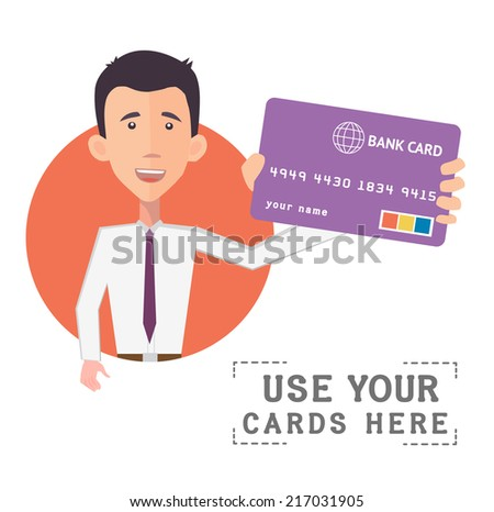 businessman holding a bank card - flat design vector  - stock vector
