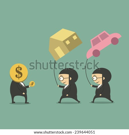 businessman holding a car and home on air - stock vector