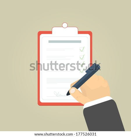 Businessman holding a clipboard and writing signature - stock vector