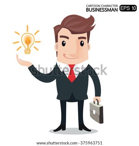 Businessman holding a light bulb symbol of having an idea .- vector illustration - stock vector