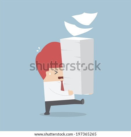 Businessman holding a lot of documents in his hands, VECTOR, EPS10 - stock vector
