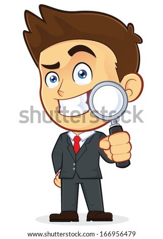 Businessman Holding a Magnifying Glass - stock vector