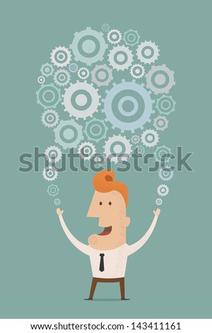 Businessman holding a planet of gears , eps10 vector format - stock vector