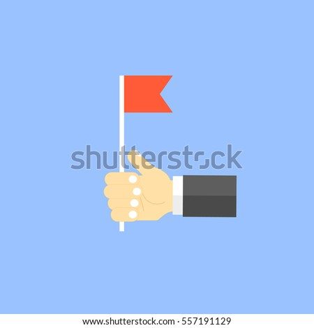 Businessman holding a red flag.