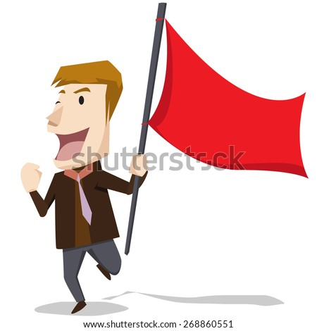 businessman holding a red flag isolated on white background - stock vector