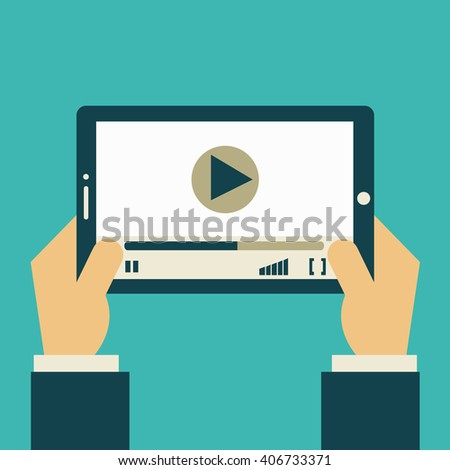 Businessman holding a tablet computer with video player and mobile applications. Flat design. Vector illustration. - stock vector