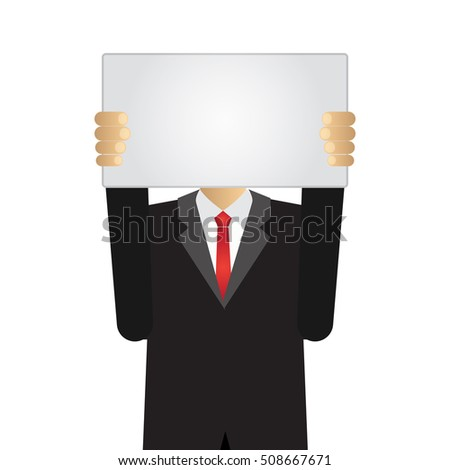 businessman holding a white board with copy space in front of his head, isolated on white background