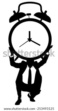 businessman holding an alarm clock - stock vector