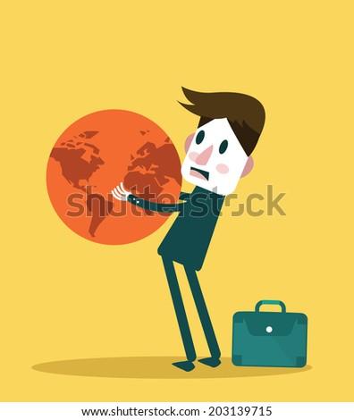 Businessman holding big globe. Big burden concept design. vector illustration - stock vector