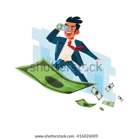 Businessman holding binocular on flying of money carpet - vector illustration - stock vector