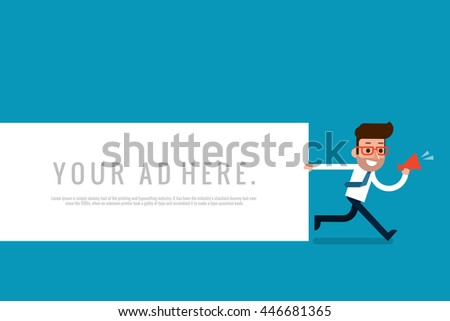 Businessman holding blank notes, flat design vector.