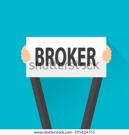 Businessman holding broker sign, vector - stock vector
