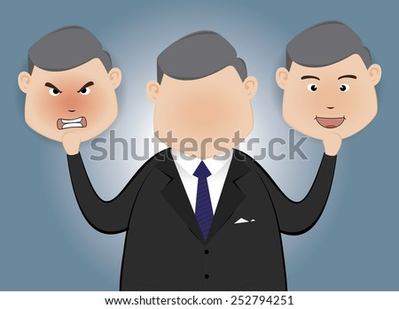 Businessman holding card with a angry face and happy  face - stock vector