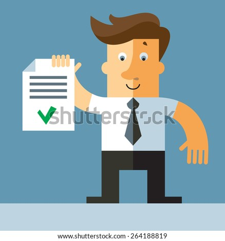 businessman holding  check list. Business flat vector illustration. - stock vector