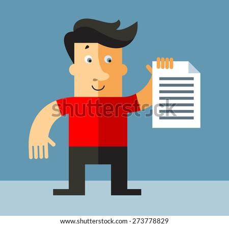 businessman holding  check list. Business flat vector illustration. - stock vector