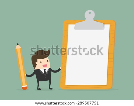 Businessman holding clipboard with blank white paper. Flat design business concept cartoon illustration.