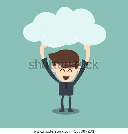 businessman holding cloud - stock vector