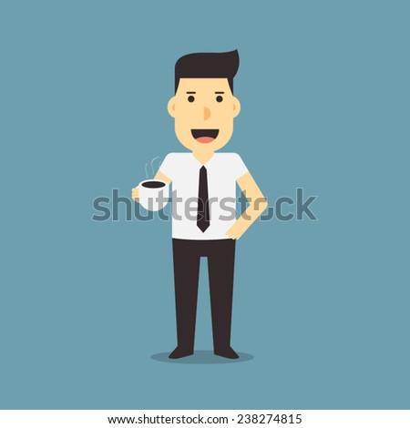 businessman holding coffee - stock vector