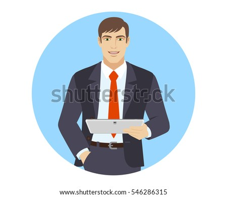 Businessman holding digital tablet PC. Portrait of businessman in a flat style. Vector illustration.
