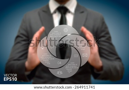 Businessman holding elements of infographics. Circle line infographic. Business concept with 4 options, parts, steps or processes. Linear graphic. Blur vector background. - stock vector