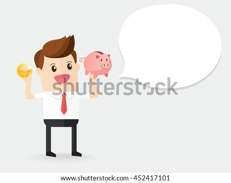 businessman holding gold coin with piggy bank and daydreaming about earning future - stock vector