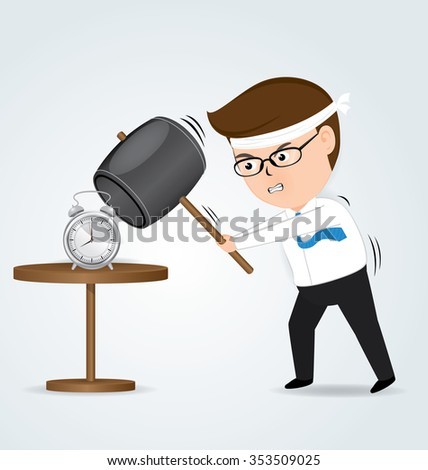 Businessman holding hammer hitting alarm clock, business concept, vector - stock vector