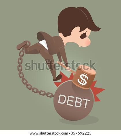 Businessman holding hammer hitting cracked DEBT ball - stock vector
