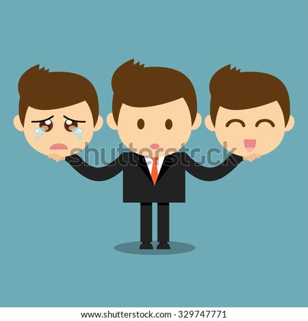 Businessman holding happy and sad emotions face  - stock vector