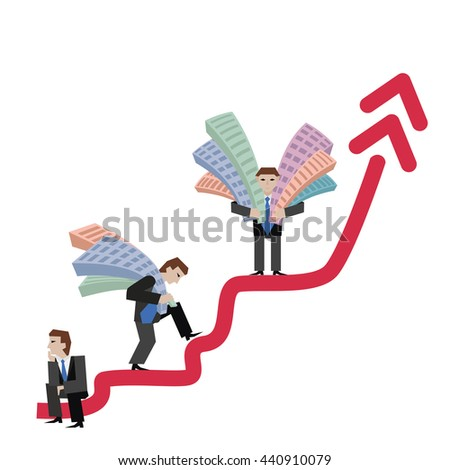 Businessman holding houses. Business concept the real estate market with arrow. Vector illustration of businessman with houses standing on arrow, isolated on white background. - stock vector