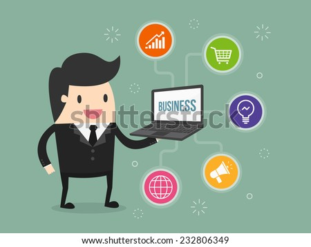 businessman holding laptop with business icon - stock vector