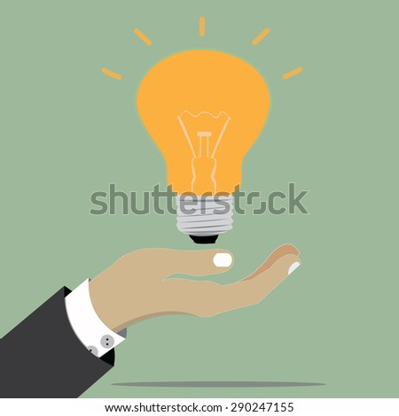Businessman holding light bulbs conceptual of inspiration, creative ideas and innovation. - stock vector