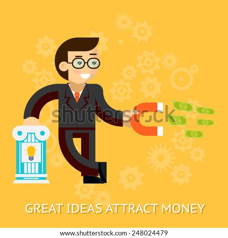 Businessman holding magnet attracting money. The grand idea of making money without effort. Vector illustration - stock vector