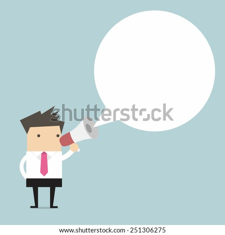 Businessman holding megaphone with speech bubble for text - stock vector