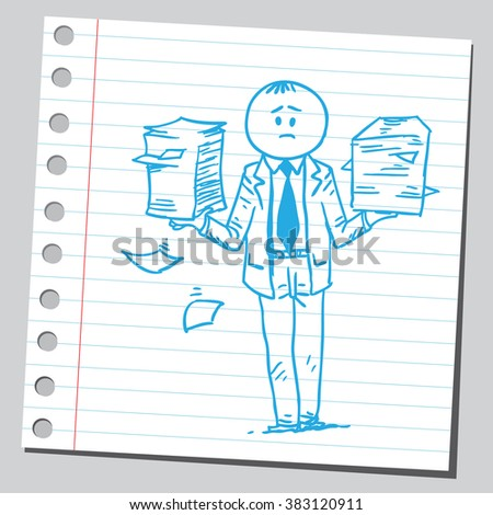 Businessman holding paper piles - stock vector