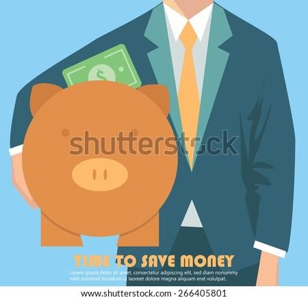 Businessman holding piggy bank, money concept - stock vector