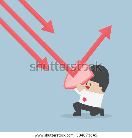 Businessman holding shield prevent from down trend graph to protect his profit, VECTOR, EPS10 - stock vector